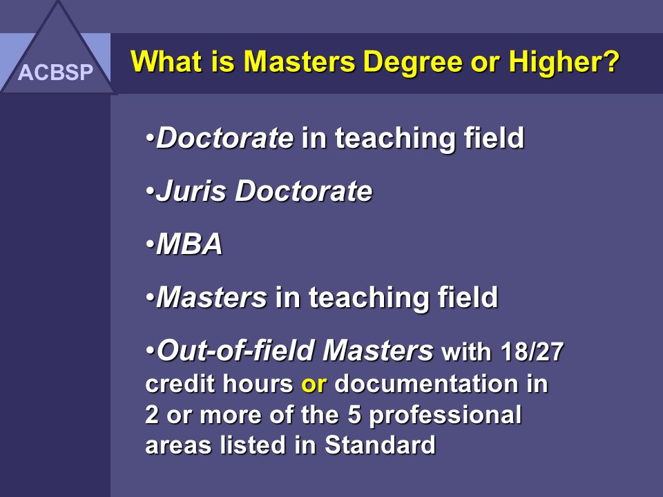 What is Masters Degree or Higher