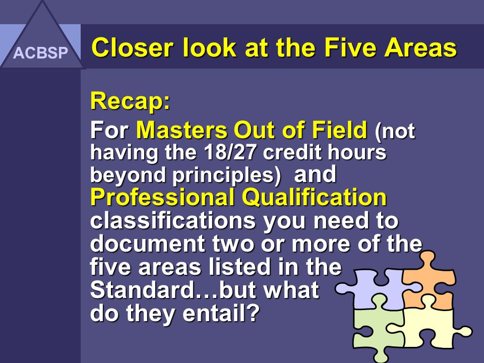 Closer look at the Five Areas