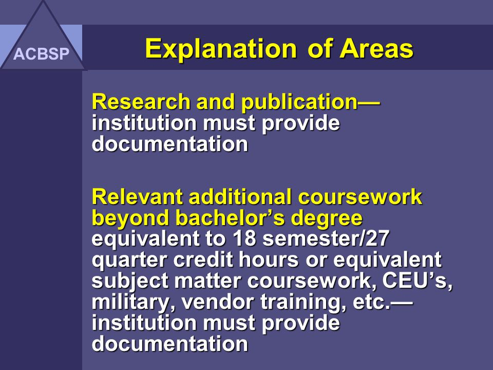 ACBSP Explanation of Areas. Research and publication—institution must provide documentation.