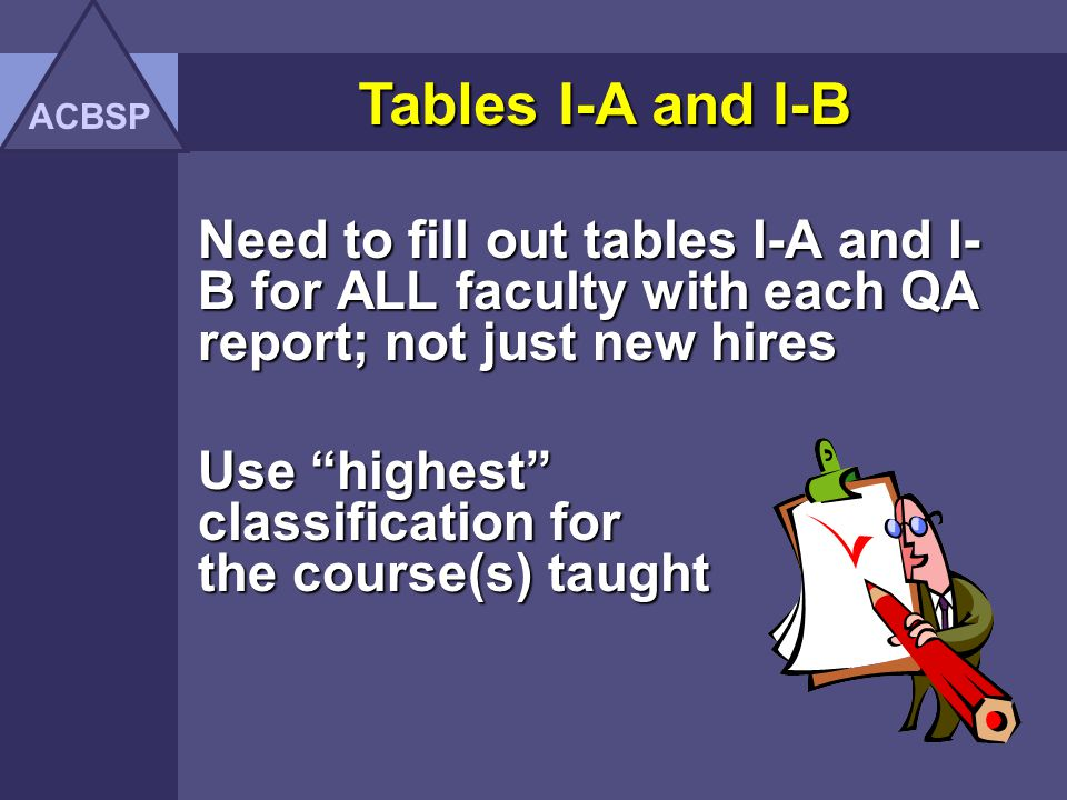 ACBSP Tables I-A and I-B. Need to fill out tables I-A and I-B for ALL faculty with each QA report; not just new hires.
