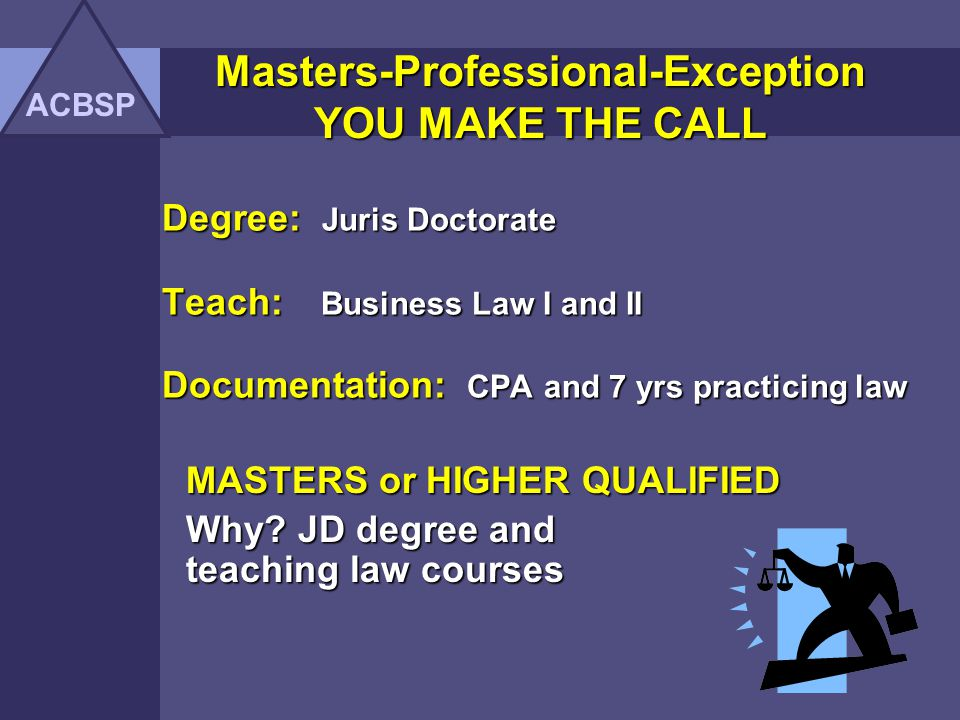 MASTERS or HIGHER QUALIFIED Why JD degree and teaching law courses