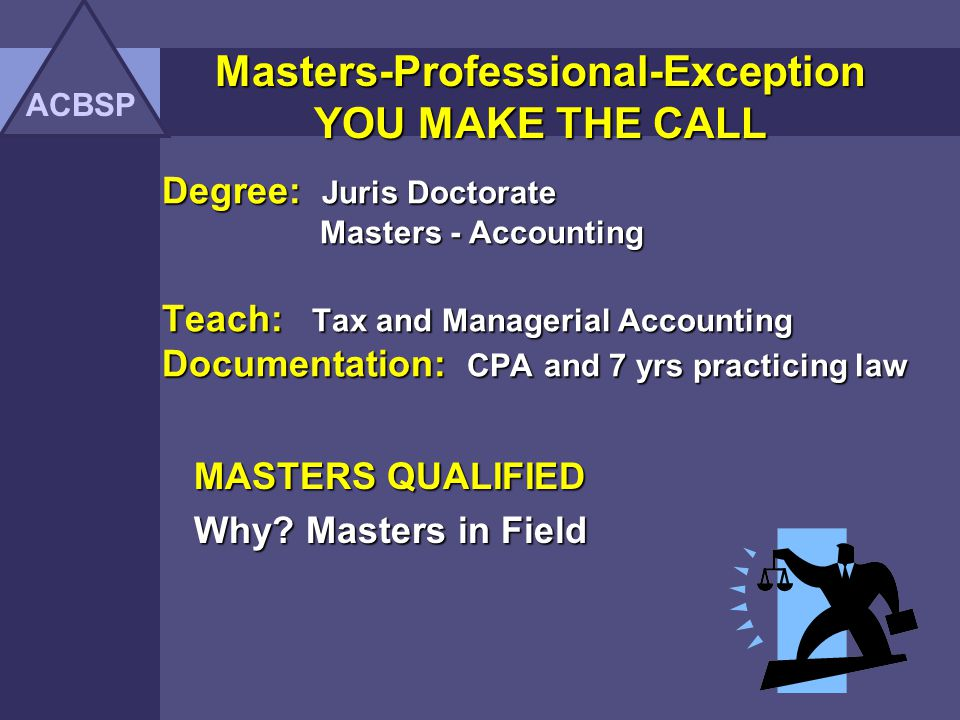 MASTERS QUALIFIED Why Masters in Field