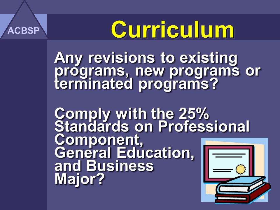 ACBSP Curriculum. Any revisions to existing programs, new programs or terminated programs
