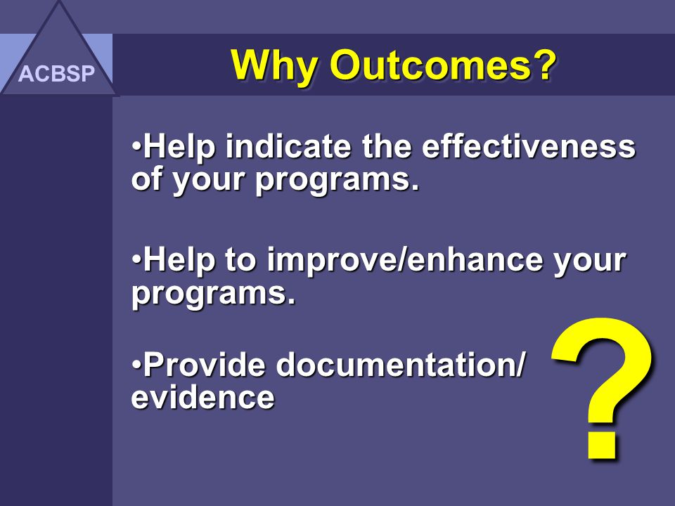 Why Outcomes Help indicate the effectiveness of your programs.