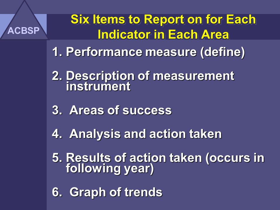 Six Items to Report on for Each Indicator in Each Area