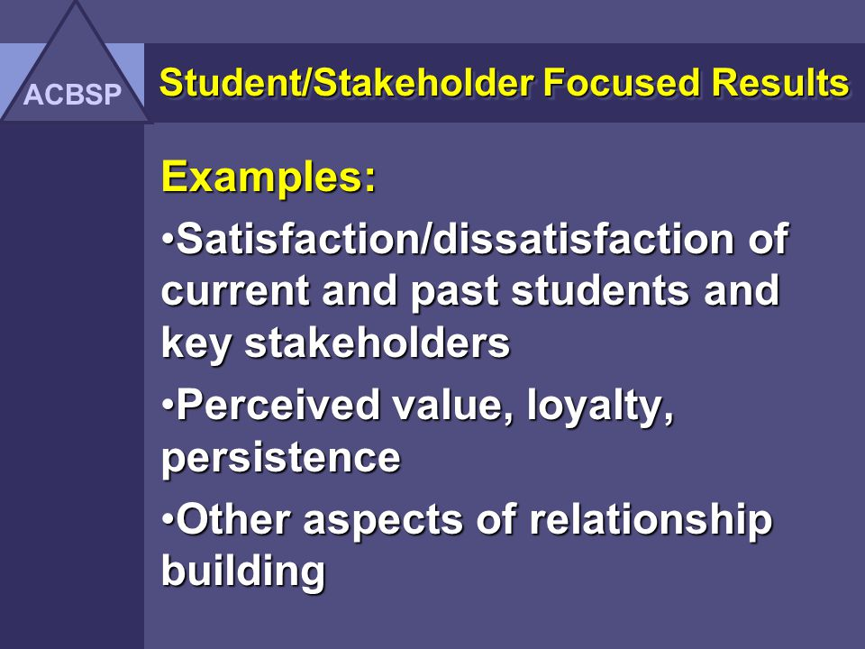 Student/Stakeholder Focused Results