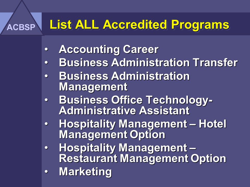 List ALL Accredited Programs