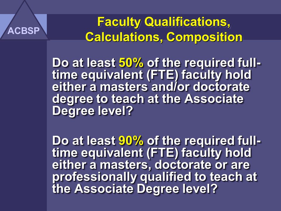 Faculty Qualifications, Calculations, Composition