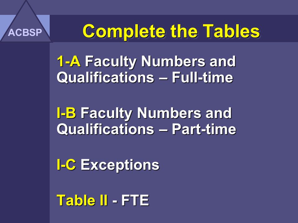 Complete the Tables 1-A Faculty Numbers and Qualifications – Full-time