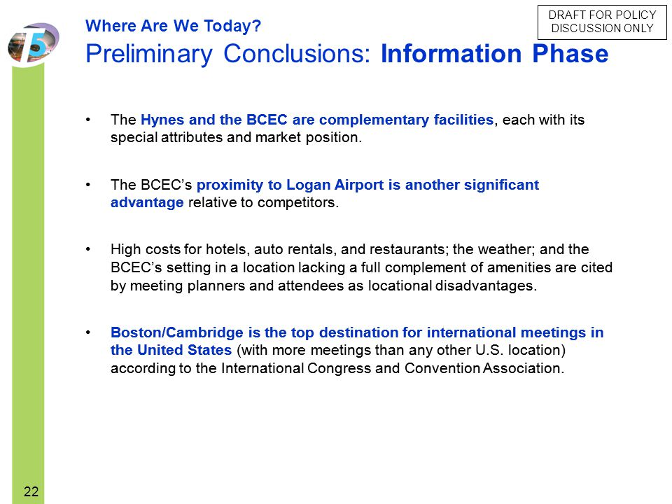 Preliminary Conclusions: Information Phase