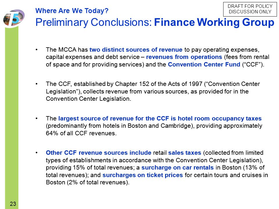 Preliminary Conclusions: Finance Working Group