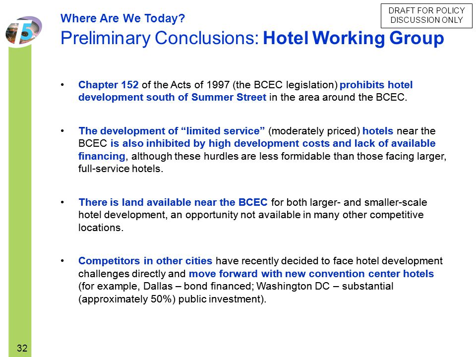 Preliminary Conclusions: Hotel Working Group