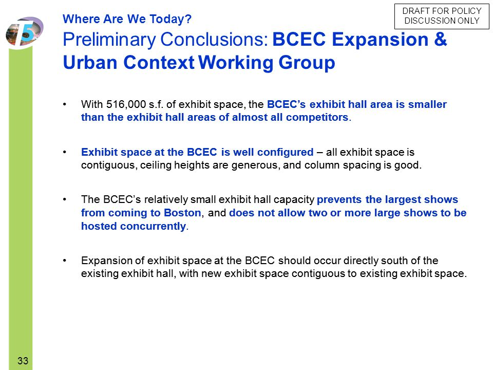 Preliminary Conclusions: BCEC Expansion & Urban Context Working Group