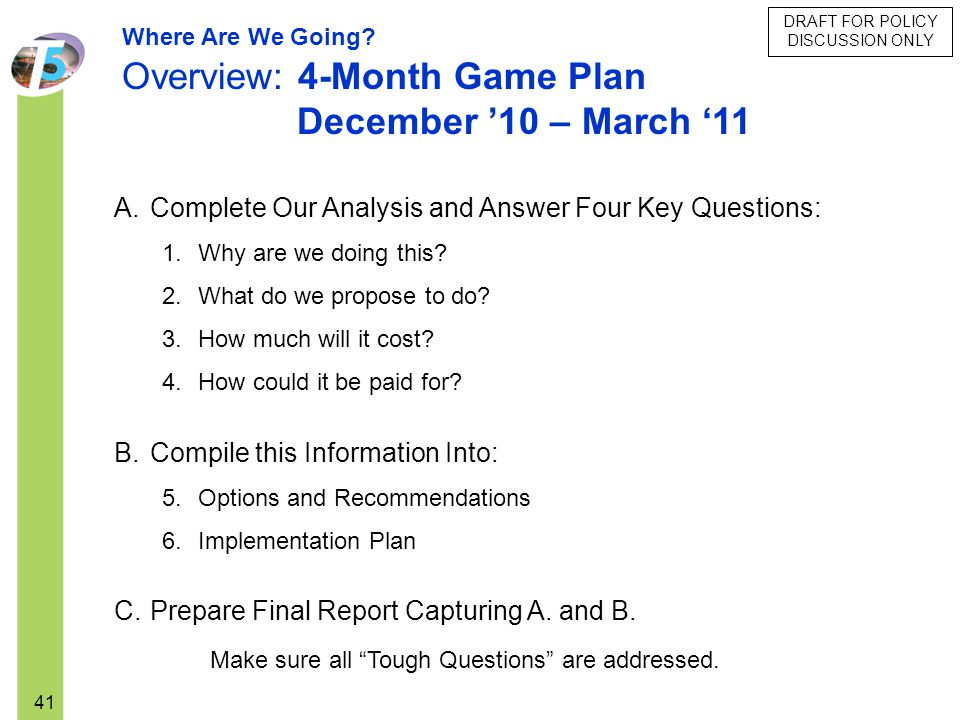 Overview: 4-Month Game Plan December '10 – March '11