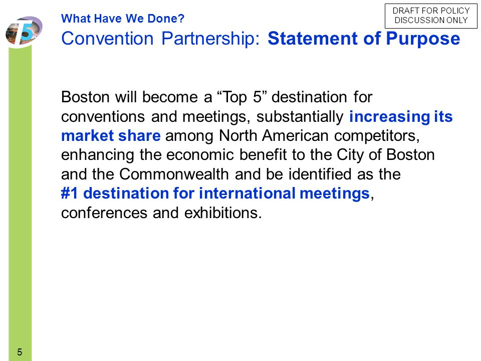 Convention Partnership: Statement of Purpose