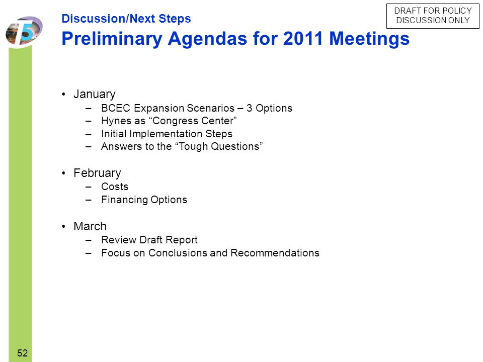 Preliminary Agendas for 2011 Meetings