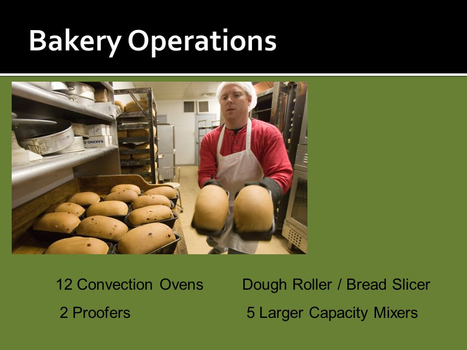 Bakery Operations 12 Convection Ovens Dough Roller / Bread Slicer