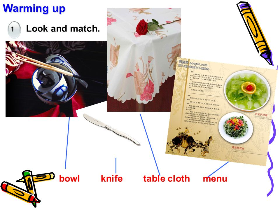Warming up Look and match. bowl knife table cloth menu 1