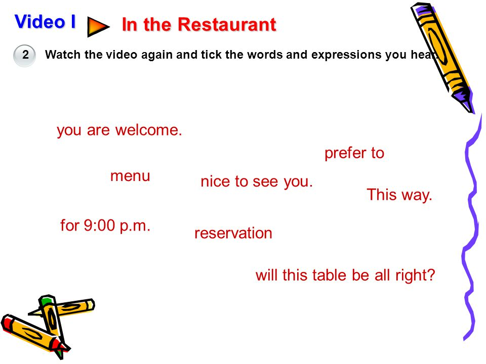 Video I In the Restaurant you are welcome. prefer to menu