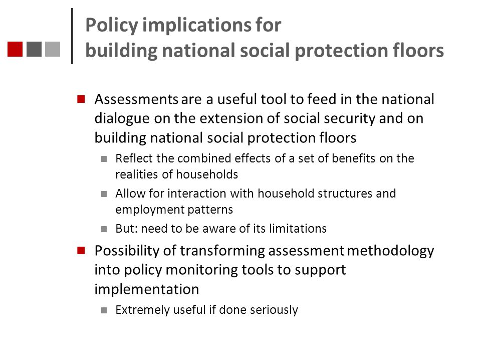 Policy implications for building national social protection floors