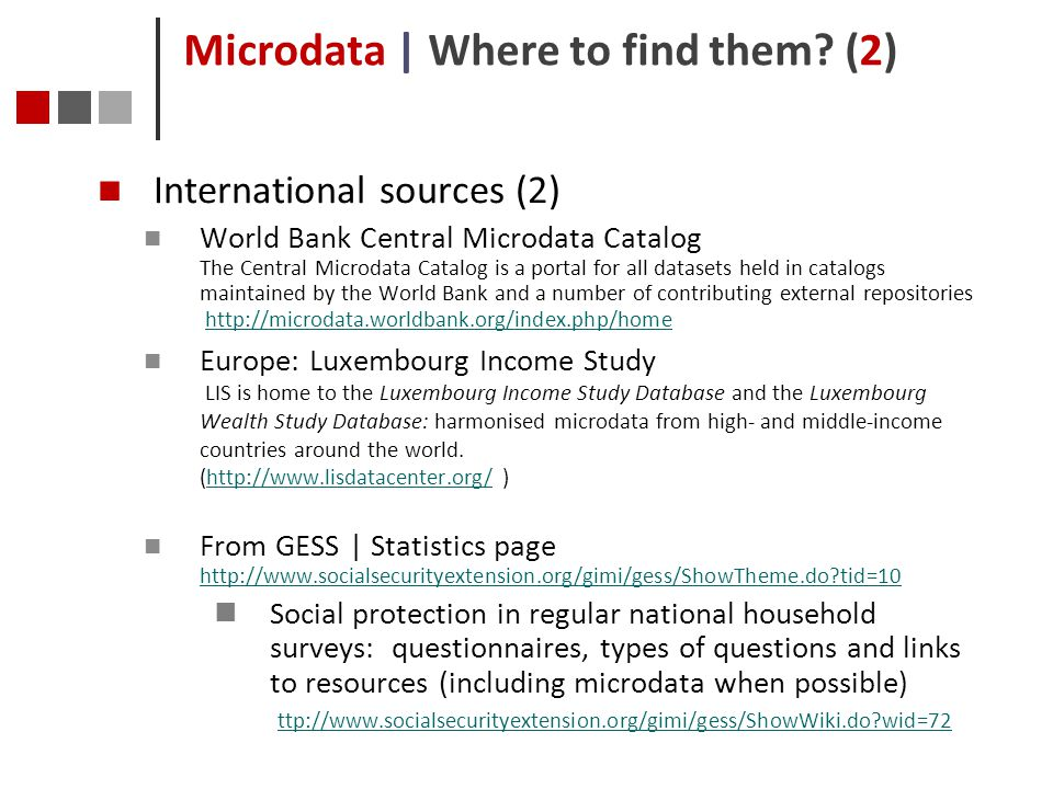 Microdata | Where to find them (2)