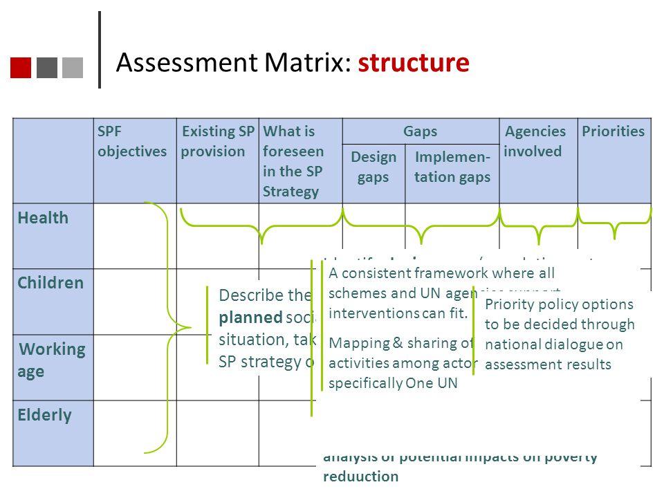 Assessment Matrix: structure
