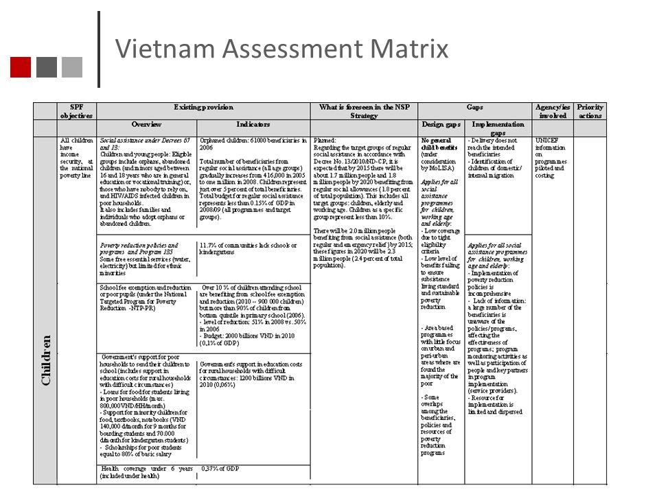 Vietnam Assessment Matrix