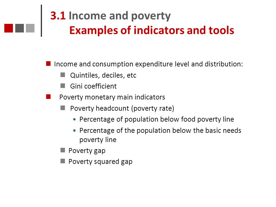 3.1 Income and poverty Examples of indicators and tools