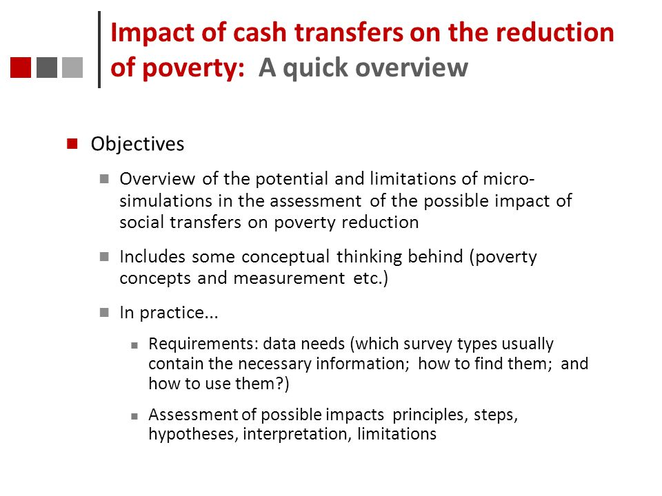 Impact of cash transfers on the reduction of poverty: A quick overview