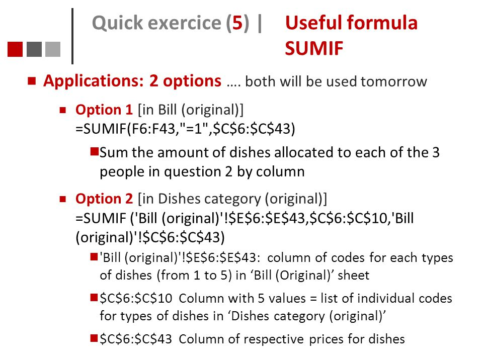Quick exercice (5) | Useful formula SUMIF