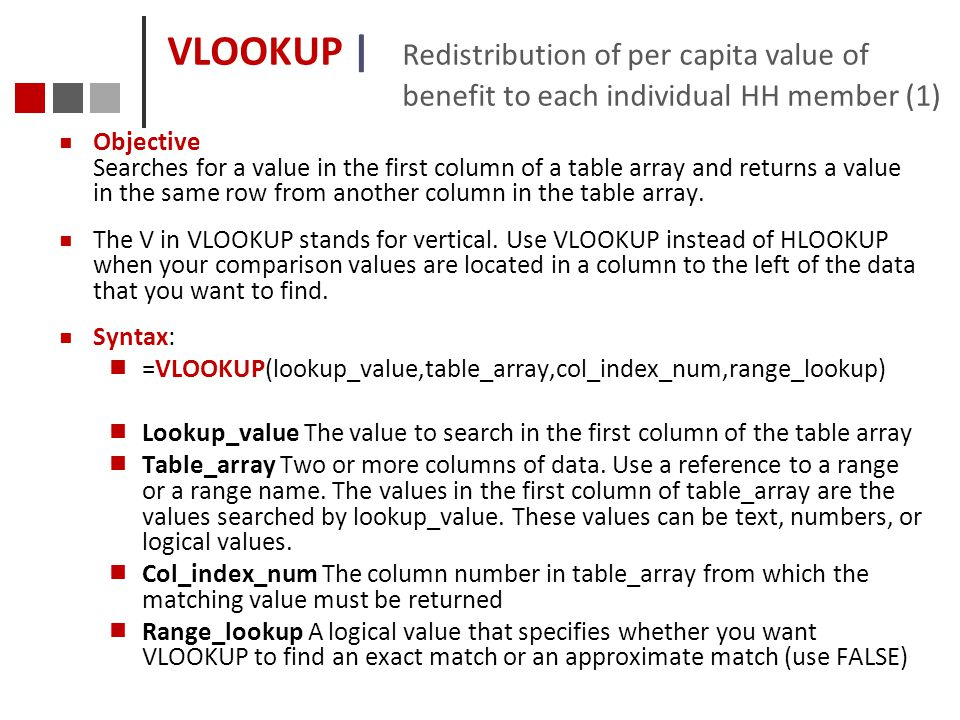 VLOOKUP | Redistribution of per capita value of benefit to each individual HH member (1)