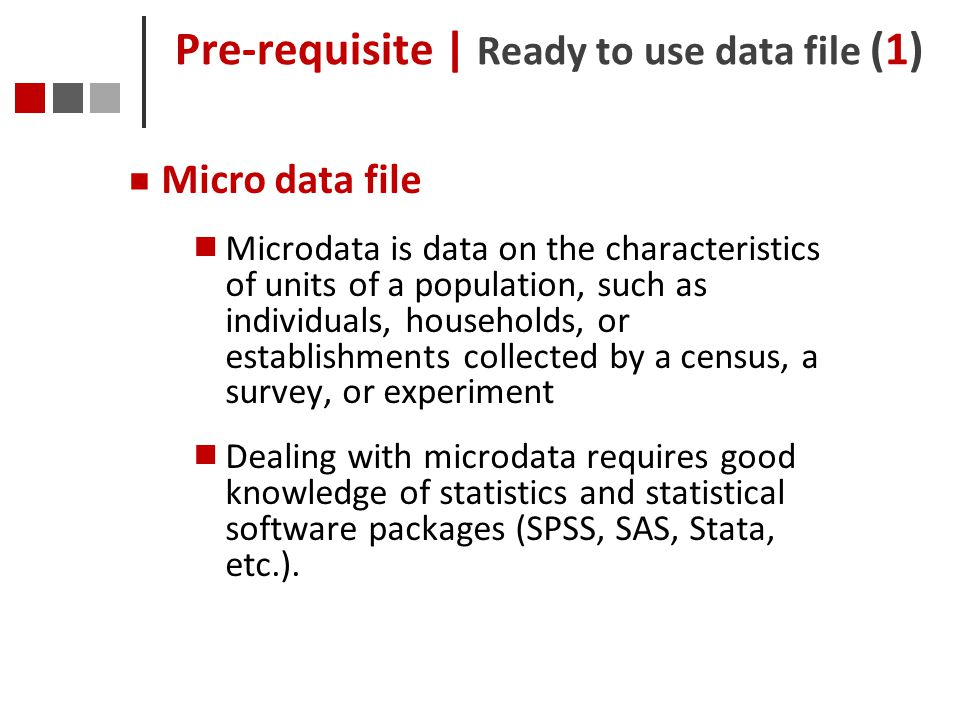 Pre-requisite | Ready to use data file (1)