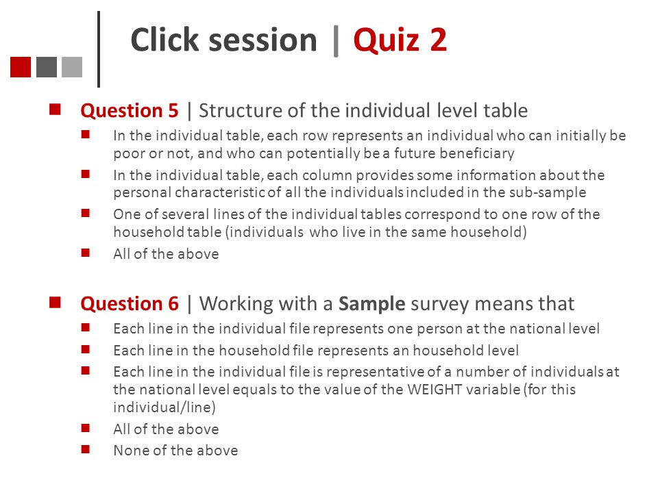 Click session | Quiz 2 Question 5 | Structure of the individual level table.