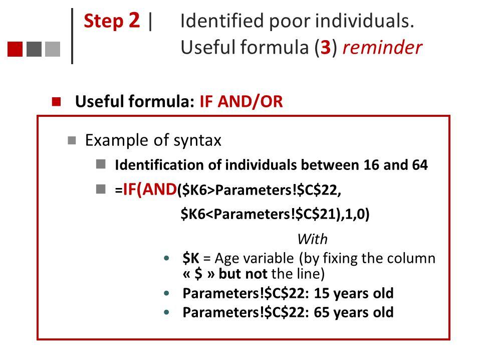 Step 2 | Identified poor individuals. Useful formula (3) reminder