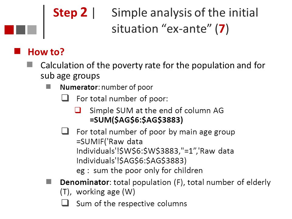 Step 2 | Simple analysis of the initial situation ex-ante (7)