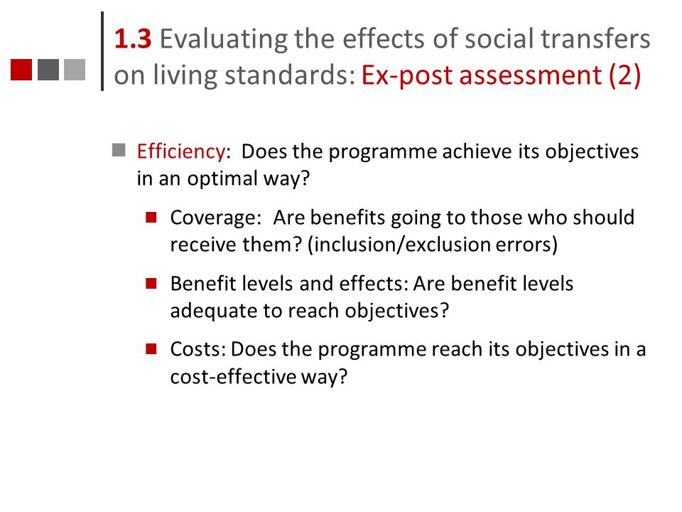 1.3 Evaluating the effects of social transfers on living standards: Ex-post assessment (2)