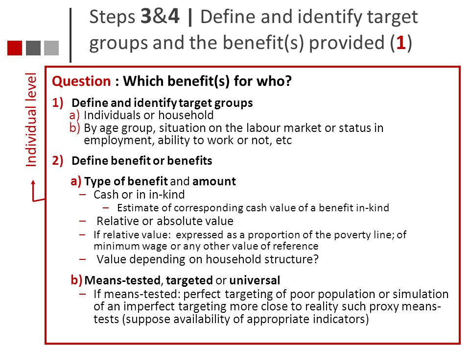 Steps 3&4 | Define and identify target groups and the benefit(s) provided (1)