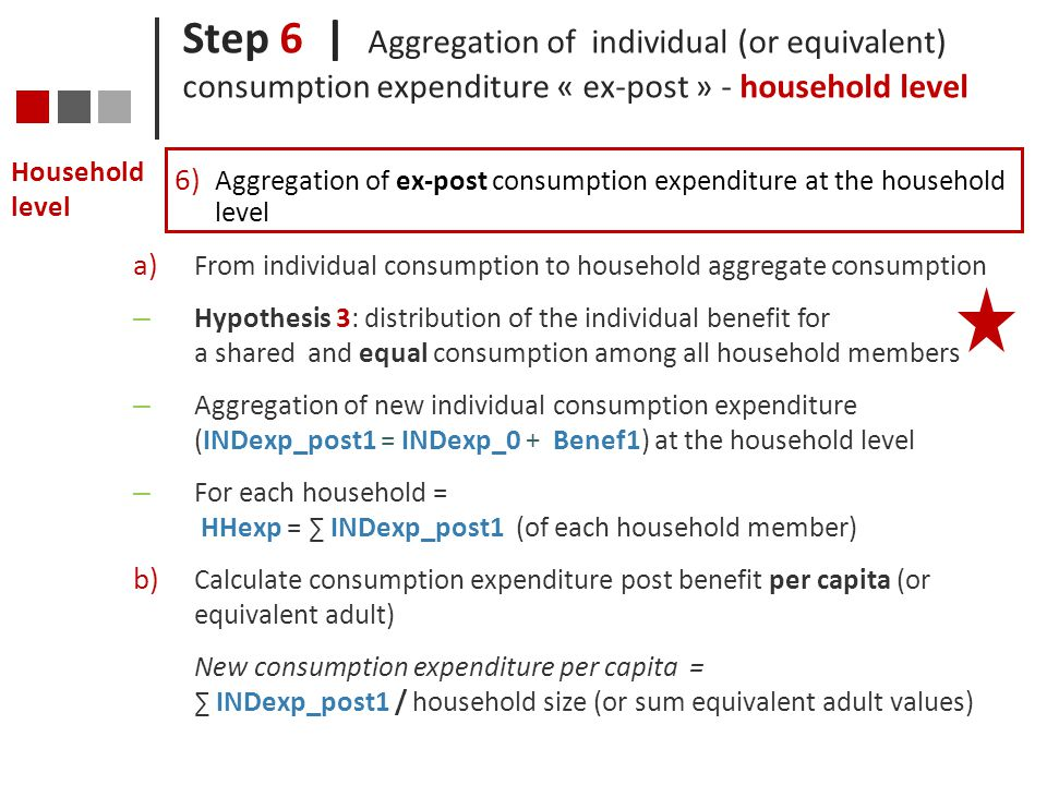 Step 6 | Aggregation of individual (or equivalent) consumption expenditure « ex-post » - household level