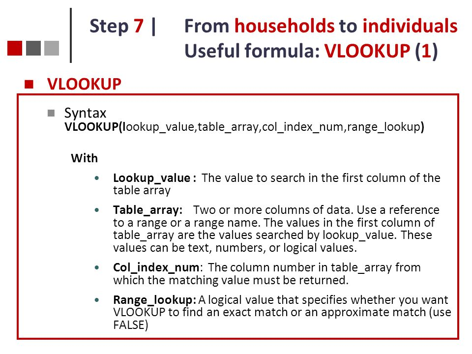 Step 7 | From households to individuals Useful formula: VLOOKUP (1)
