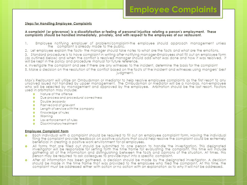 Employee Complaints Steps for Handling Employee Complaints