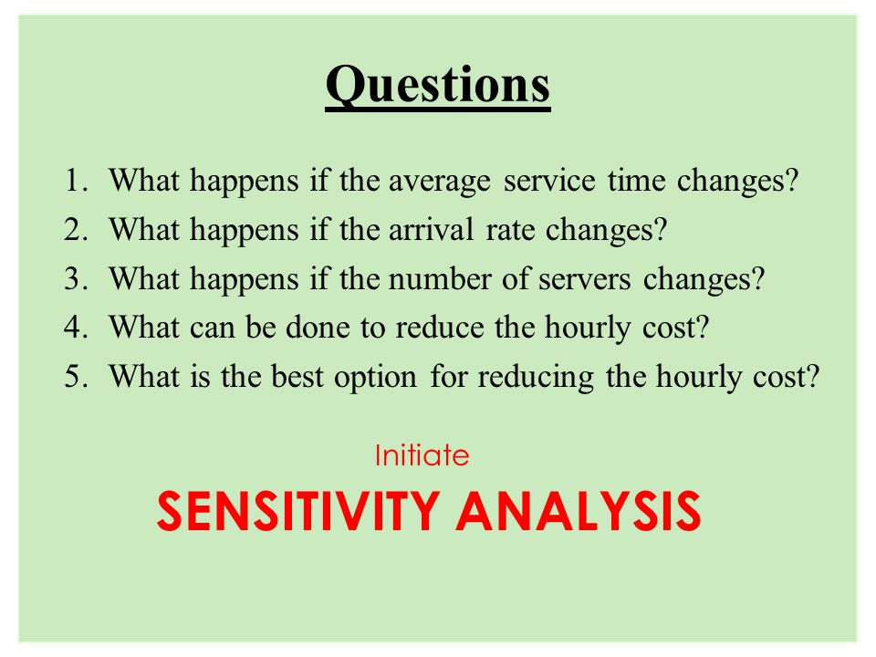 Questions SENSITIVITY ANALYSIS