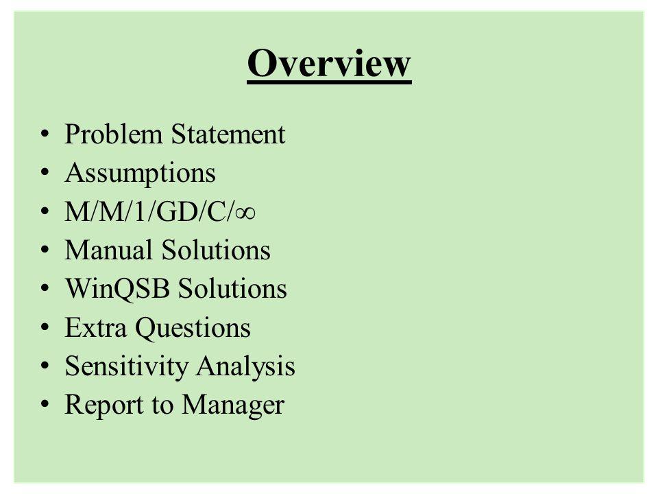 Overview Problem Statement Assumptions M/M/1/GD/C/∞ Manual Solutions