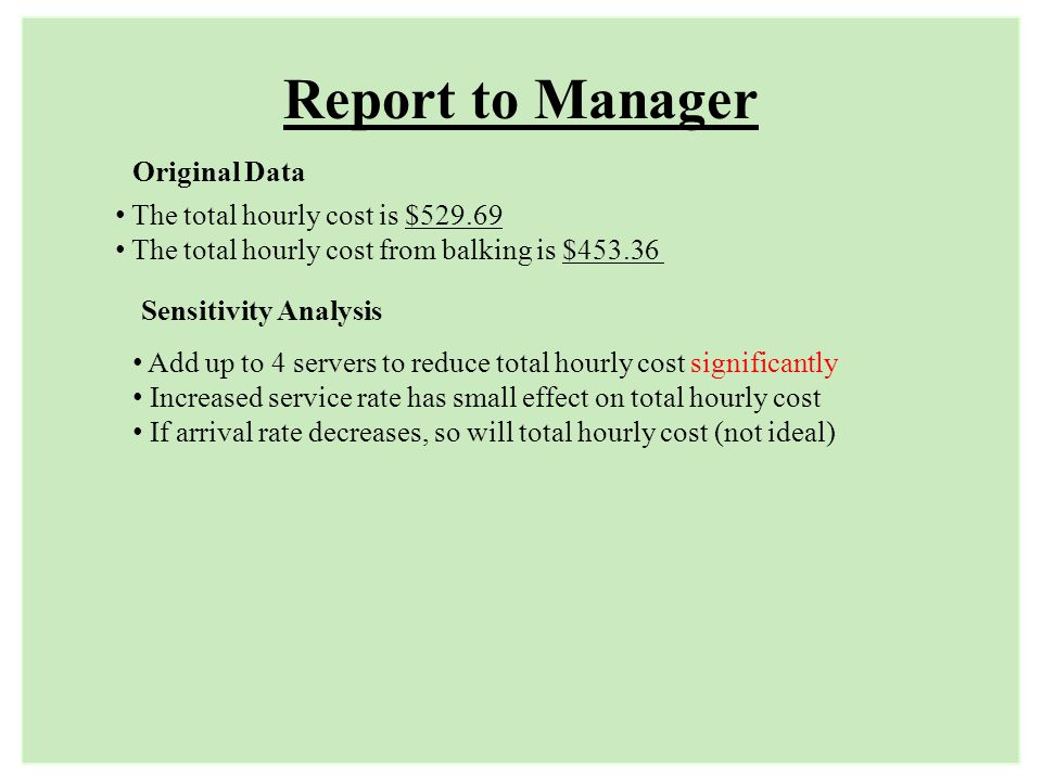 Report to Manager Original Data The total hourly cost is $529.69
