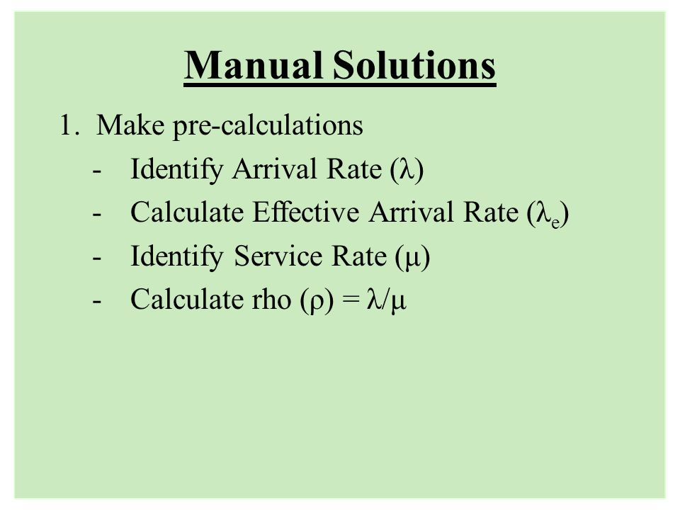 Manual Solutions Make pre-calculations Identify Arrival Rate (λ)