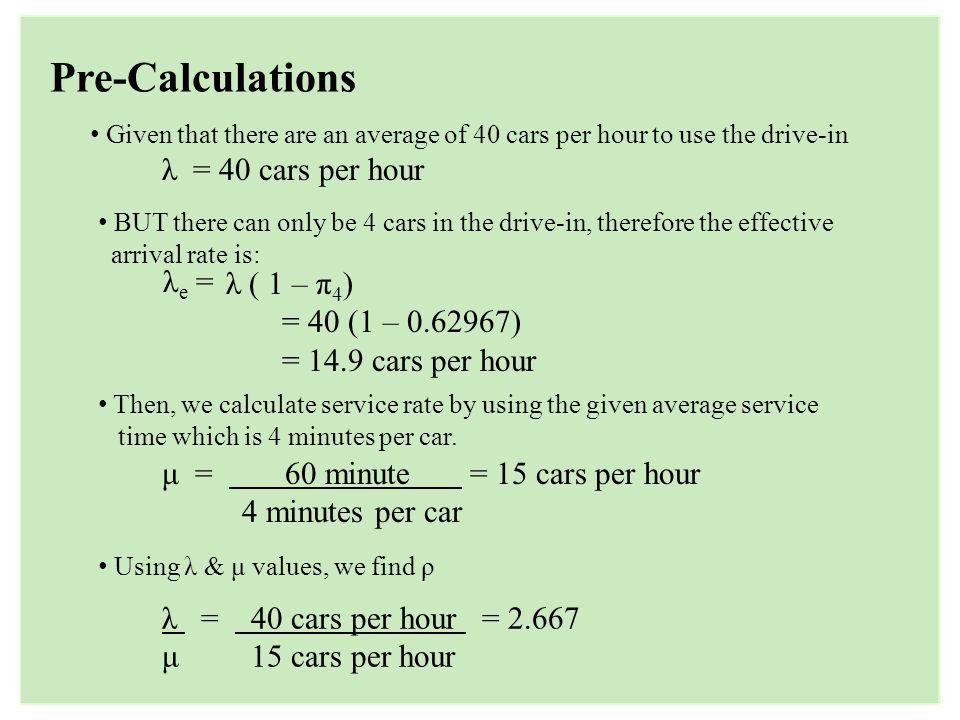 Pre-Calculations λ = 40 cars per hour λe = λ ( 1 – π4)