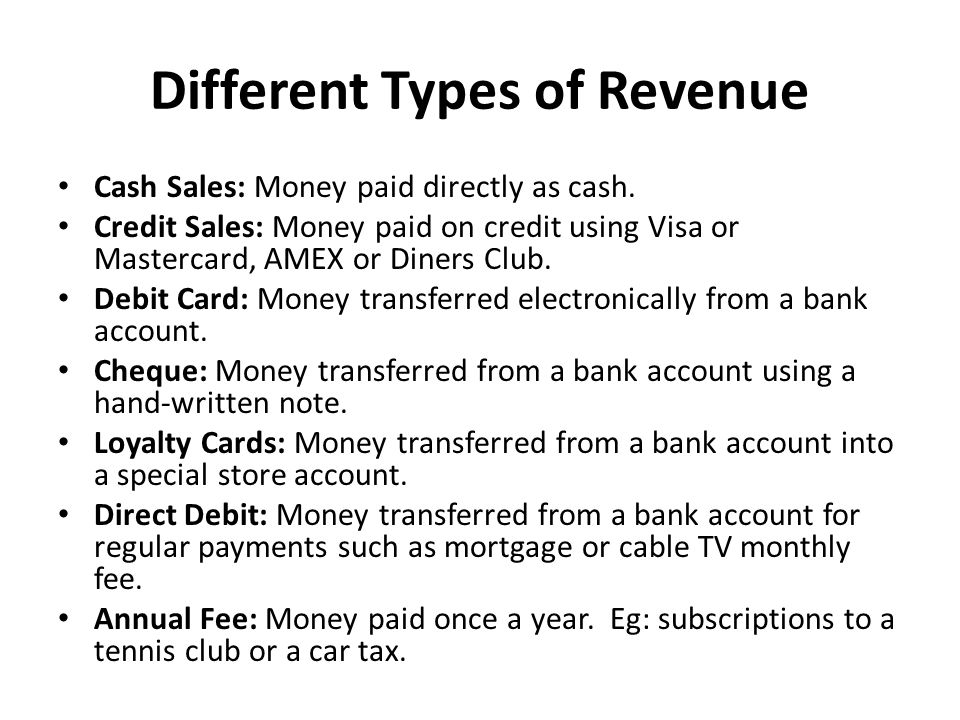 Different Types of Revenue