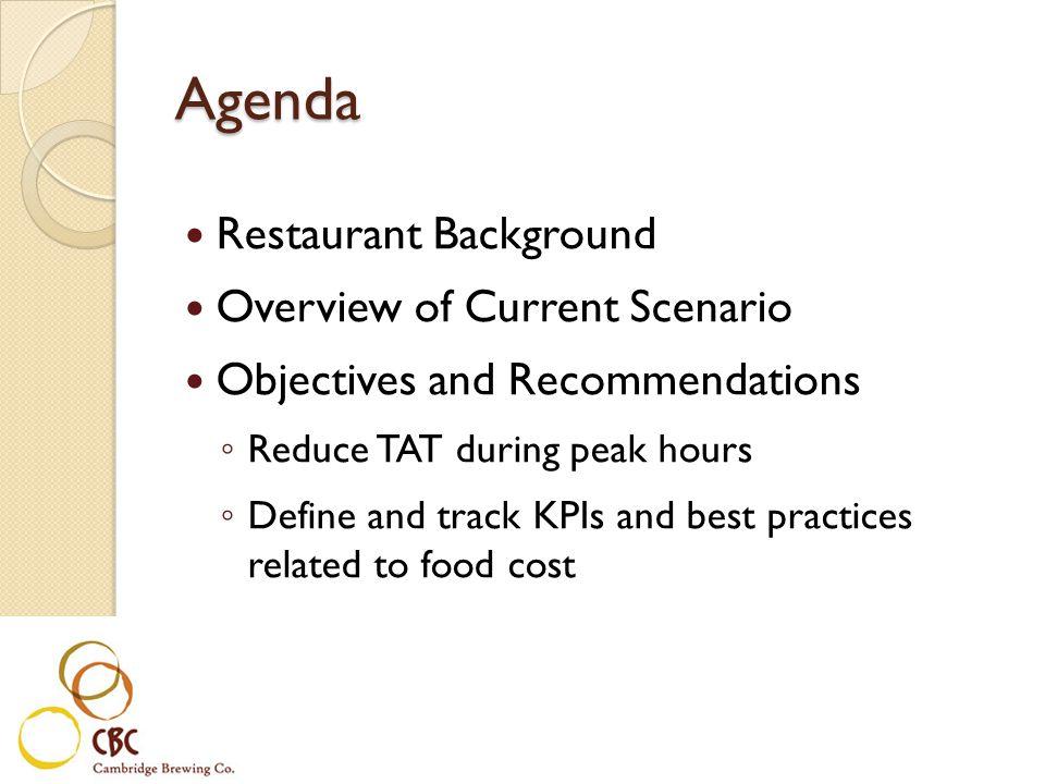 Agenda Restaurant Background Overview of Current Scenario