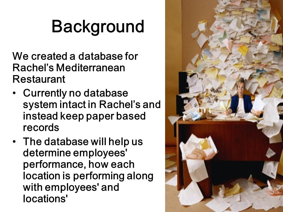 Background We created a database for Rachel's Mediterranean Restaurant