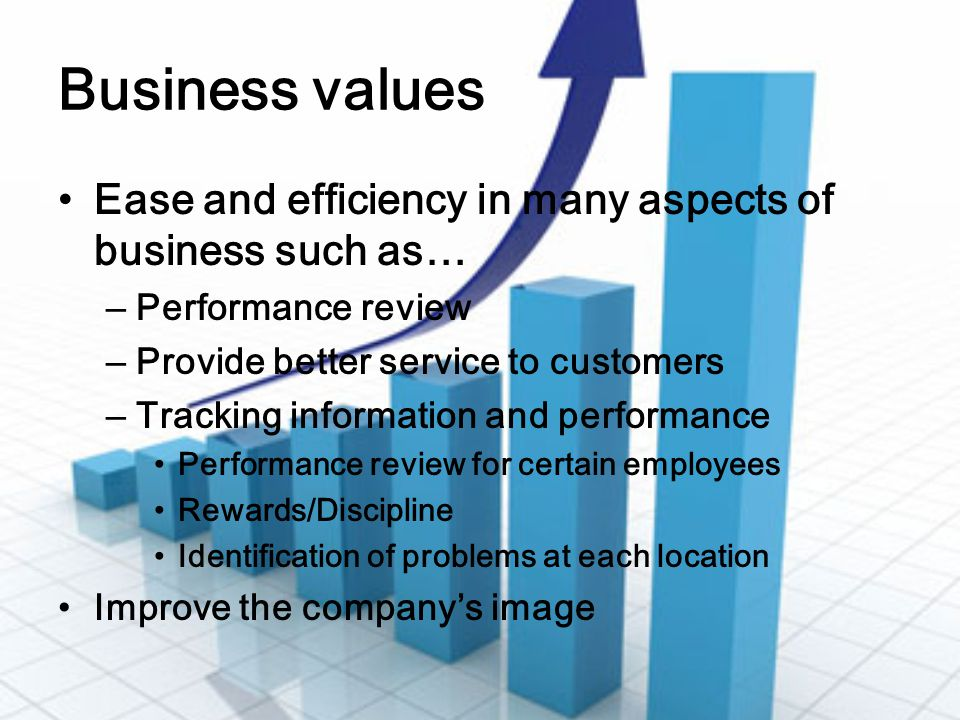 Business values Ease and efficiency in many aspects of business such as… Performance review. Provide better service to customers.