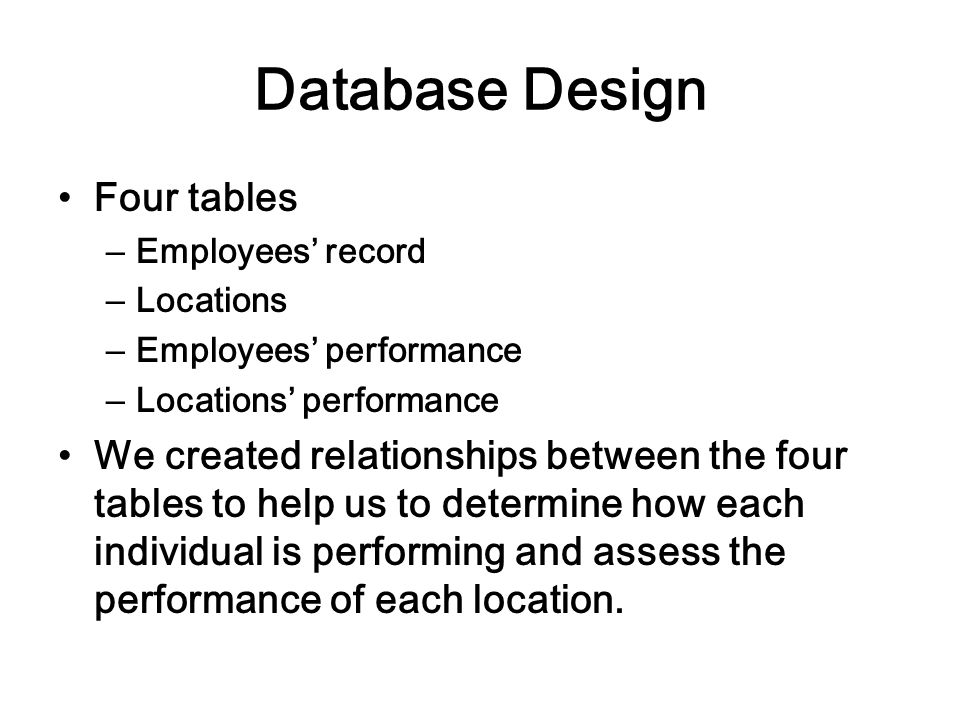 Database Design Four tables